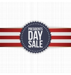 Presidents day sale blue label with striped ribbon vector