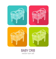 Line art baby crib icon set in four color vector
