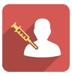 Patient vaccination flat rounded square icon with vector
