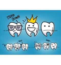 Teeth cool cartoons blue vector