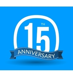 15 anniversary numbers with ribbon flat origami vector