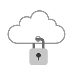 Cloud with closed padlock icon vector