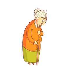 an elderly woman walking with cane colorful vector image