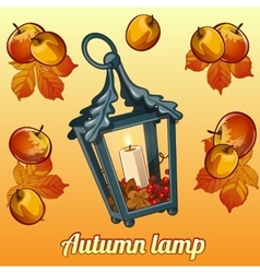 Autumn set of candle holder leaves and apples vector image vector image