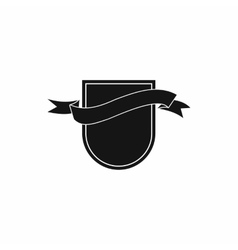 Black shield with ribbon icon simple style vector