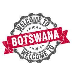 Botswana round ribbon seal vector