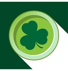 Button with dark green shamrock vector