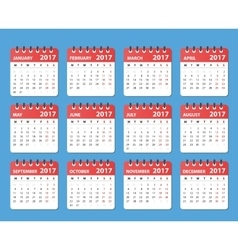 calendar 2017 year starts on monday vector image