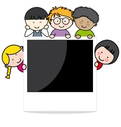 Children with photo frame vector image vector image
