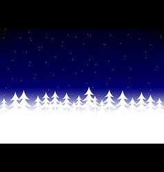 Christmas tree snow dark blue sky vector