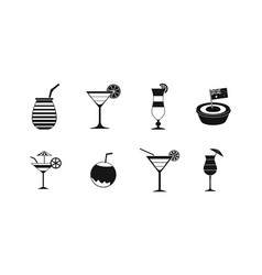 cocktail icon set simple style vector image