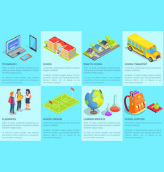 Collection of posters with text devoted to school vector