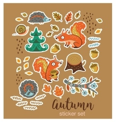 Collection of stickers with cartoon characters and vector
