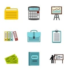 Company icons set flat style vector