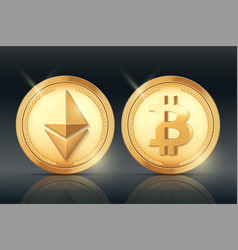 cryptocurrency gold coin set vector image vector image