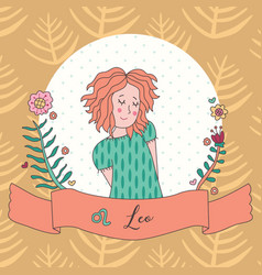 cute horoscope zodiac girl leo vector image