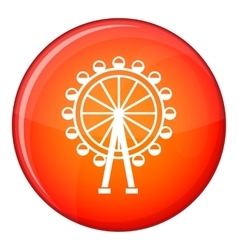 Ferris wheel icon flat style vector