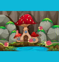 forest scene with mushroom house by the pond vector image vector image