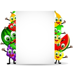 funny fruits cartoon with blank sign vector image