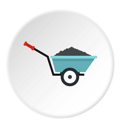garden wheelbarrow icon circle vector image