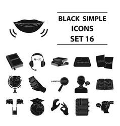 interpreter and translator set icons in black vector image