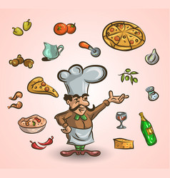 italian cuisine and food hand-drawn vector image vector image