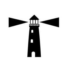 Lighthouse guide ocean location signal vector