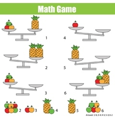Mathematics educational game for children balance vector image vector image