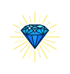 Modern diamond flat icon brilliant idea smart vector