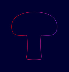 Mushroom simple sign line icon with vector