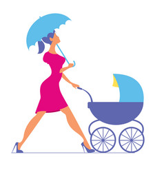 Nanny woman walking with a baby carriage vector