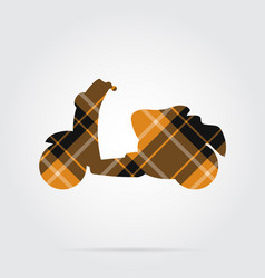 Orange black tartan isolated icon - scooter vector