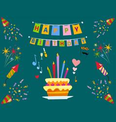 Party icons celebration happy birthday surprise vector