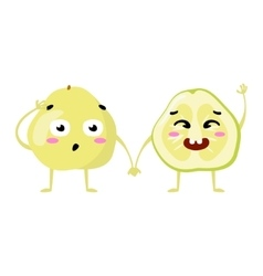 Pomelo cute fruit character couple vector