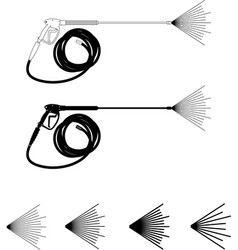 Power washer hose and spray pattern vector
