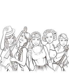 retro music group vector image