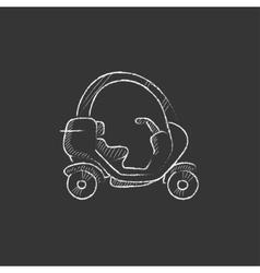 Rickshaw drawn in chalk icon vector