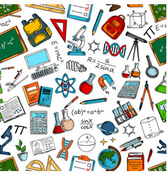 science and education seamless pattern background vector image vector image