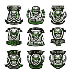 set of military logos emblems skull helmet vector image vector image