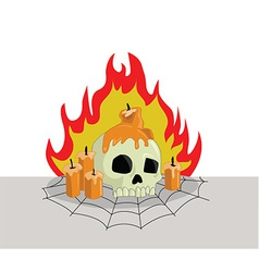Skull head on fire vector