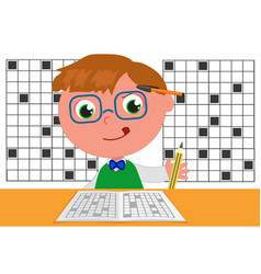 Smart kid doing crosswords vector