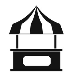 Store kiosk with striped awning icon simple style vector