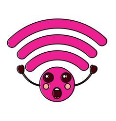 Suprised wifi kawaii icon image vector