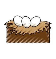 Tender nest with eggs vector