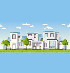 Three modern white houses in a suburb vector