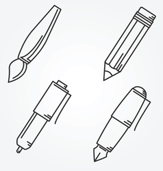 Writing tools Pencil pen fountain pen brush ballpo vector image vector image