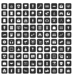 100 marketing icons set black vector