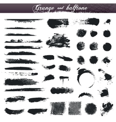 Grunge and halftone design elements vector