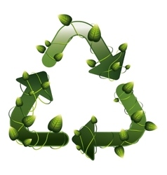 Recycling symbol shape with creepers vector