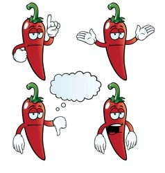 Bored chili pepper set vector